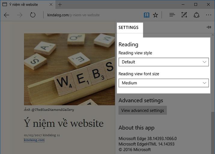 Reader View trên Microsoft Edge